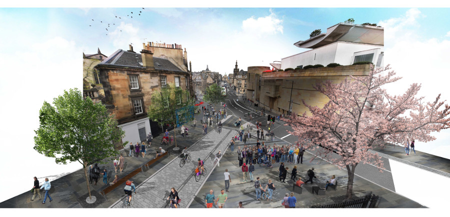 A visualisation of the proposed designs at the corner of Forrest Road, Bristo Place and George IV bridge