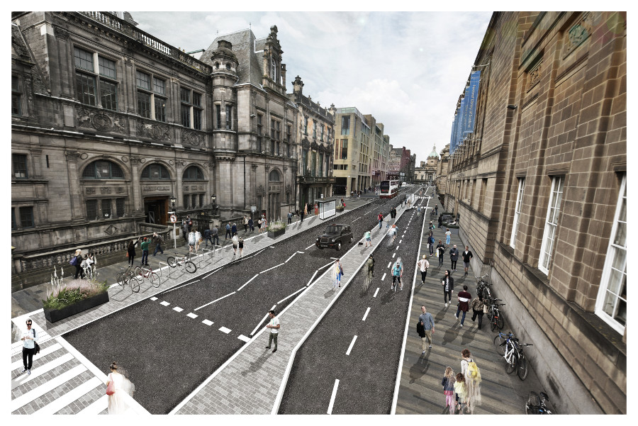 A visualisation of the proposed designs looking north up George IV Bridge