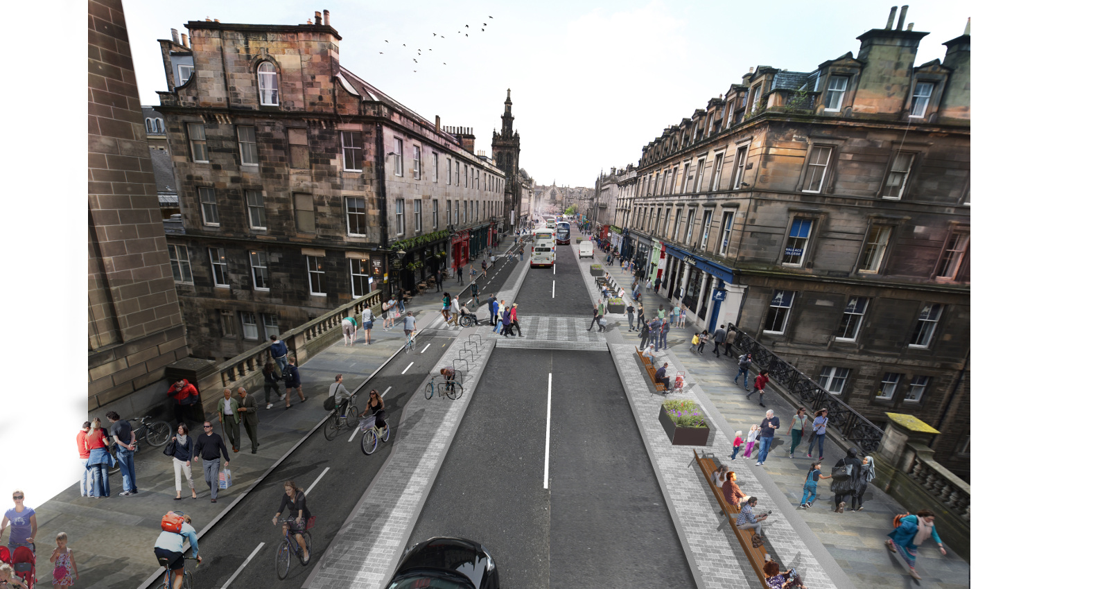 A visualisation of the proposed designs looking south down George IV Bridge
