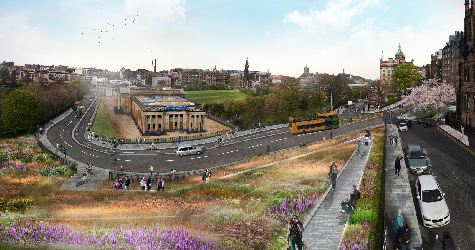 A visualisation of the proposed designs overlooking the Mound